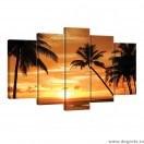 Set Tablou Canvas 5 piese Palmieri - apus
