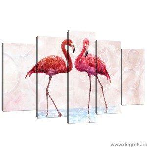 Set Tablou Canvas 5 piese Flamingo 1