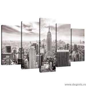 Set Tablou Canvas 5 piese New York alb si negru