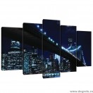 Set Tablou Canvas 5 piese Podul Brooklyn 4