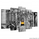 Set Tablou Canvas 5 piese Tramvai galben in Lisabona