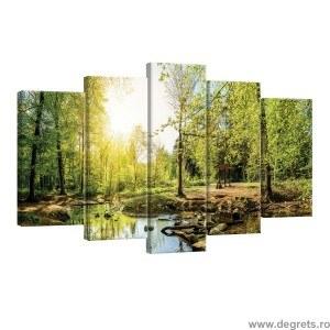 Set Tablou Canvas 5 piese Padure verde