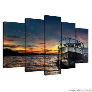 Set Tablou Canvas 5 piese Barca pe apa