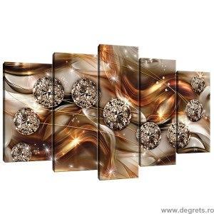 Set Tablou Canvas 5 piese Diamant portocaliu 3D