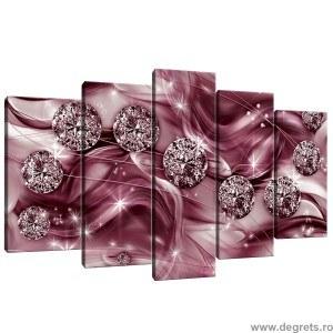 Set Tablou Canvas 5 piese Diamant mov 3D