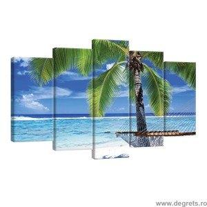 Set Tablou Canvas 5 piese Sub palmier