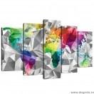Set Tablou Canvas 5 piese Harta Lumii 3D