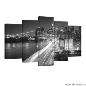Set Tablou Canvas 5 piese New York zgarie nori in alb negru