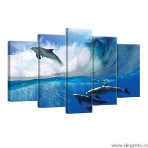 Set Tablou Canvas 5 piese Delfini in mare