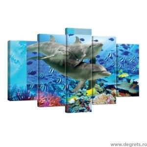 Set Tablou Canvas 5 piese Delfini 1
