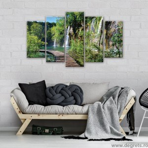 Set Tablou Canvas 5 piese Cale langa cascada