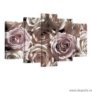 Set Tablou Canvas 5 piese Trandafiri 3D 3