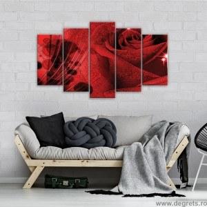 Set Tablou Canvas 5 piese Trandafir 3D Abstractie