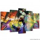 Set Tablou Canvas 5 piese Flori fluture