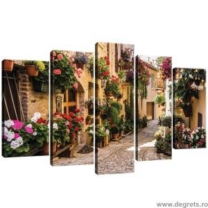 Set Tablou Canvas 5 piese Alee cu flori 2