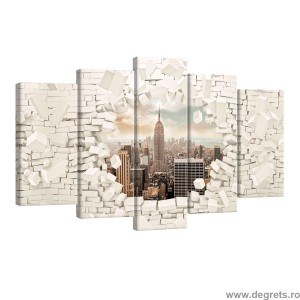 Set Tablou Canvas 5 piese New York 3D Wall