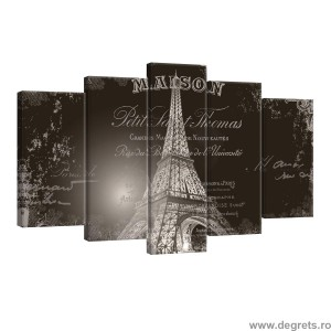 Set Tablou Canvas 5 piese Trunul Eiffel 3
