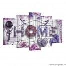 Set Tablou Canvas 5 piese Casa comoda mov