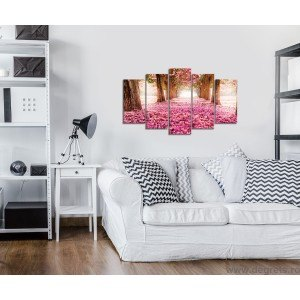 Set Tablou Canvas 5 piese Cale roz