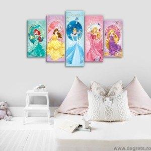 Set Tablou Canvas 5 piese Printese Disney 6