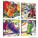Set Tablou Canvas 4 piese Graffiti