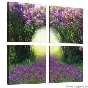 Set Tablou Canvas 4 piese Cale liliac