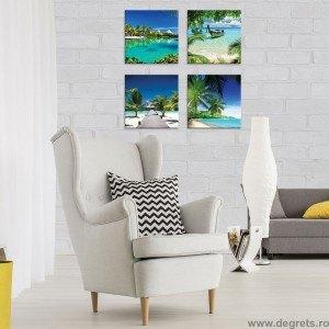 Set Tablou Canvas 4 piese Plaje exotice 2