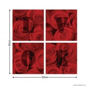 Set Tablou Canvas 4 piese Trandafiri iubire 2