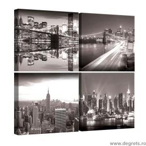 Set Tablou Canvas 4 piese New York alb negru 1