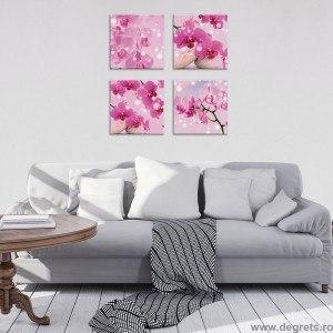 Set Tablou Canvas 4 piese Orhidee Mov 1 3D