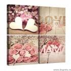 Set Tablou Canvas 4 piese Trandafiri Rosii 3