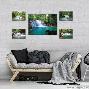 Set Tablou Canvas 5 piese Cascada in padure