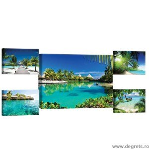 Set Tablou Canvas 5 piese Plaja exotica 3