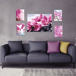 Set Tablou Canvas 5 piese Orhidee Mov 2 3D