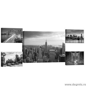 Set Tablou Canvas 5 piese New York negru si alb 2