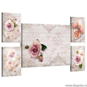Set Tablou Canvas 5 piese Trandafiri vintage 3D