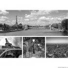 Set Tablou Canvas 4 piese Paris alb negru