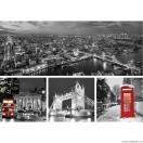 Set Tablou Canvas 4 piese Londra alb negru