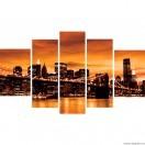 Set Tablou Canvas 5 piese Podul Brooklyn Sepia