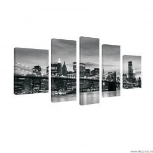 Set Tablou Canvas 5 piese Podul Brooklyn 3