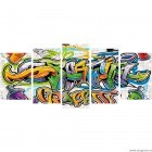 Set Tablou Canvas 5 piese Graffiti