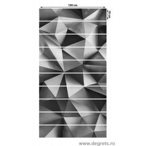 Sticker pentru scari Argintiu 3D Abstractie 10x18x100 cm
