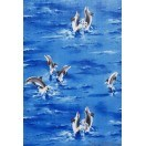 Tapet PVC Delfini închis albastru