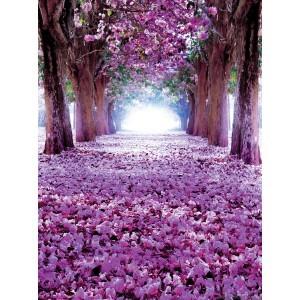Fotografie tapet Drum flori violet 3D L 2