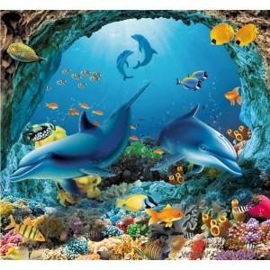 Fotografie tapet Delfinii în mare