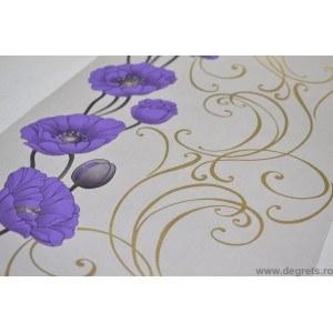 Tapet hârtie Hilda alb-violet