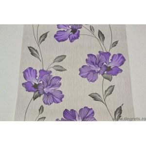 Tapet hartie Gloria alb-violet
